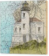 Coquille River Lighthouse Or Nautical Chart Map Art Cathy Peek Wood Print