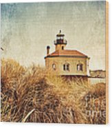 Coquille River Lighthouse - Texture Wood Print