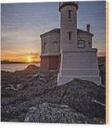 Coquille River Lighthouse Sunset Wood Print