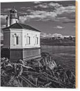 Coquille River Lighthouse Upriver Bw Wood Print