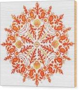 Coral Crab Mandala Wood Print