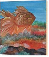 Coral Land Goldfish Wood Print
