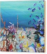 Coral Reef Blues  Wood Print