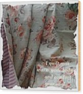 Coral Rose Quilt With Quote Wood Print