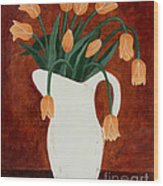 Coral Tulips In A Milk Pitcher Wood Print