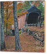 Corbin Covered Bridge Newport New Hampshire Wood Print by Edward Fielding