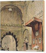 Cordoba Monk Praying At A Christian Wood Print
