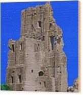 Corfe Castle Ruins Wood Print