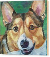 Corgi Smile Wood Print by Lyn Cook