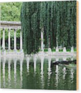 Corinthian Colonnade And Pond Wood Print