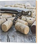 Corks With Corkscrew Wood Print