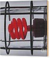 Corkscrew Light Bulb Wood Print