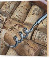 Corkscrew On Corks Wood Print by Garry Gay
