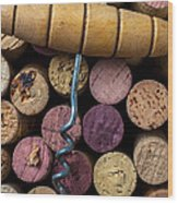 Corkscrew On Top Of Wine Corks Wood Print by Garry Gay