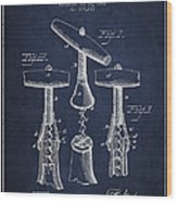 Corkscrew Patent Drawing From 1883 Wood Print