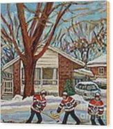 Cormac And Friends Neighborhood Hockey Game Ottawa Suburban City Scene Wood Print