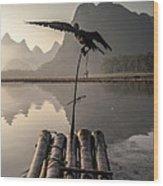 Cormorant Fishing On Li River Wood Print