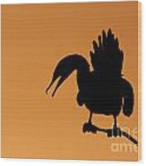 Cormorant Silhouette Wood Print