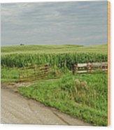 Corn Clouds Sun Rusty Gate Wood Print by Wilma  Birdwell