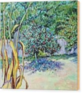 Corn Stalk And Apple Tree  Autumn Lovers Wood Print