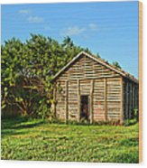 Corncrib In Afternoon Light Wood Print