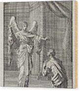 Cornelius Kneels Before The Angel Sent Wood Print