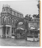 Corner Cafe Main Street Disneyland Bw Wood Print