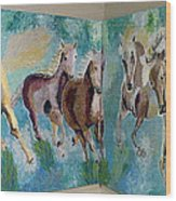 Corner Horses Wood Print by Vicky Tarcau