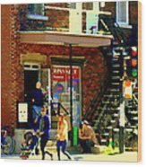 Corner Laurier Marche Maboule Depanneur Summer Stroll With Baby Carriage Montreal Street Scene Wood Print
