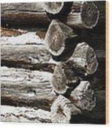 Corner Logs Wood Print