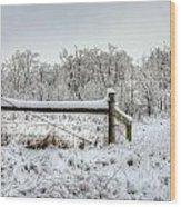Corner Post Ice And Snow Wood Print