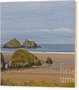 Cornish Seascape Holywell Bay Wood Print