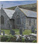 Cornish Seascape St Winwaloe Church Wood Print