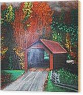 Cornwall Covered Bridge Wood Print