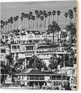 Corona Del Mar California Black And White Picture Wood Print