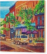 Corona Theatre Presents The Burgundy Lion Rue Notre Dame Montreal Street Scene By Carole Spandau Wood Print