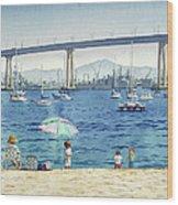 Coronado Beach And Navy Ships Wood Print