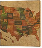 Corporate America Map Wood Print