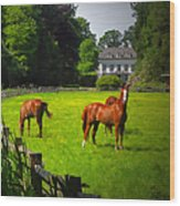 Corralled Horses - Featured In And Lets All Participate And Abc Groups Wood Print