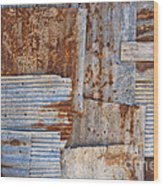 Corrugated Iron Background Wood Print