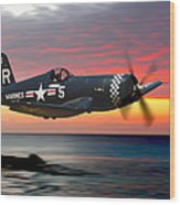 Corsair At Sundown Wood Print