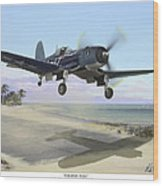 Corsair Takeoff Vf-17 Jolly Rogers Wood Print