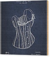Corset Patent From 1882 - Navy Blue Wood Print