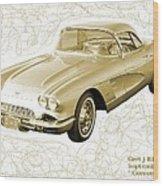 Corvette Sport Car Catus 1 No 2 Wood Print