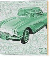 Corvette Sports Car Catus 1 No 3 Wood Print