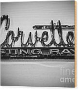 Corvette Sting Ray Emblem Wood Print by Paul Velgos