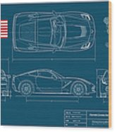 Corvette Stingray Blueplanprint Wood Print