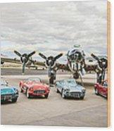 Corvettes And B17 Bomber Wood Print