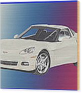 Corvettes In Red White And True Blue Wood Print