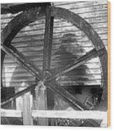 Cosley Mill Waterwheel In Black And White Wood Print